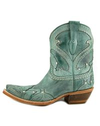 Lucchese - Stitched Petal Short Women Pointed Toe Leather Blue Western Boot - Lyst