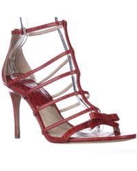 Michael Kors | Red Michael Blythe T-strap Dress Sandals - Crimson | Lyst