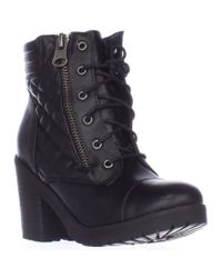 Rampage | Black Harrison Quilted Lace Up Ankle Boots | Lyst