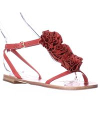 kate spade new york | Kate Spade Caryl Rose Flower T-strap Flat Sandals - Maraschino Red | Lyst