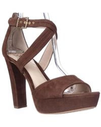 Vince Camuto | Brown Shayla Platform Cross Strap Sandals | Lyst