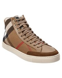 Burberry - Brown Painton House Check & Leather High Top Trainer for Men - Lyst