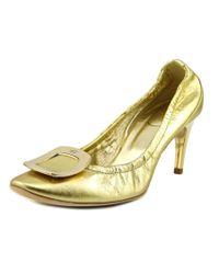 Roger Vivier   Metallic Dec. New Chips T.65 Women Round Toe Leather Gold Heels   Lyst