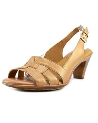 Softspots | Metallic Nadira Open-toe Leather Slingback Heel | Lyst