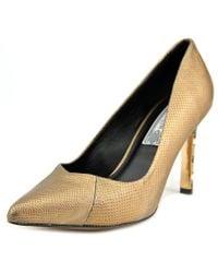 Ivy Kirzhner   Metallic Chevron Women Pointed Toe Leather Gold Heels   Lyst