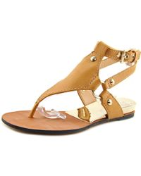Vince Camuto | Brown Adalina Open-toe Leather Slingback Sandal | Lyst