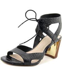 Pour La Victoire | Parsa Women Open Toe Leather Black Sandals | Lyst
