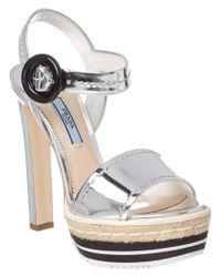 Prada | Gray Microsole Metallic Leather Platform Sandal | Lyst