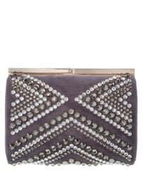 Jimmy Choo | Multicolor Cate Crystal Embellished Suede Clutch | Lyst