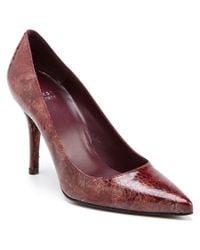 Stuart Weitzman | Red Iris Snakeskin-embossed Leather Pump | Lyst
