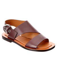 Céline   Red Bam Bam Leather Flat Sandal   Lyst