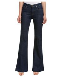 7 For All Mankind | 7 For All Mankind Ginger Lovely Blue Rinse Flare Leg Trouser | Lyst