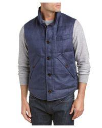 Brunello Cucinelli | Blue Down Linen Vest for Men | Lyst