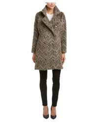 Trina Turk | Natural Madison Chevron Alpaca-blend Asymmetrical Coat | Lyst
