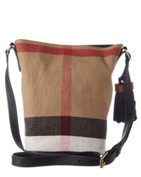 Burberry | Brown Ashby Small Canvas Check & Leather Bucket Bag | Lyst