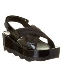 Prada | Black Crisscross Nylon & Patent Platform Slingback Sandal | Lyst