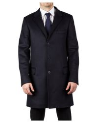 Luciano Barbera | Men's Wool Cashmere 3/4 Length Coat Jacket Navy Blue for Men | Lyst