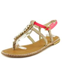 Juicy Couture | Pink Alania Open Toe Leather Sandals | Lyst