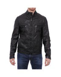 Kenneth Cole Reaction | Men Zipper Pleather Moto Jacket Motorcycle Black for Men | Lyst