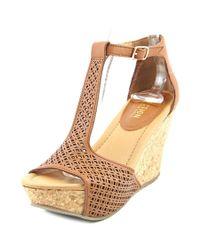 Kenneth Cole Reaction - Brown Sole Tan Women Open Toe Synthetic Wedge Sandal - Lyst