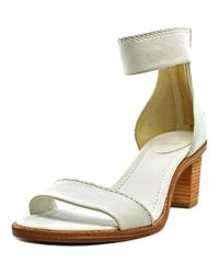 Frye | Brielle Back Zip Women Open Toe Leather White Sandals | Lyst
