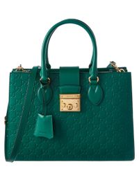 Gucci   Green Signature Padlock Leather Top Handle Tote   Lyst