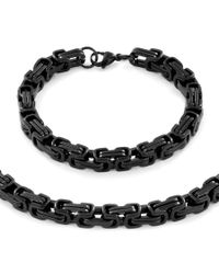 "West Coast Jewelry | Metallic Men's Stainless Steel Byzantine Chain Necklace (24"""") And Bracelet (9"""") Set - (9mm) for Men 