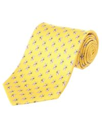 Ferragamo - Yellow Rabbit Silk Tie for Men - Lyst