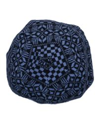 Versace - Vhb0605 0001 Blue Knitted Beanie Wool Hat for Men - Lyst