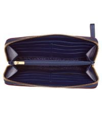 Longchamp - Blue Le Pliage Heritage Leather Zip Around Wallet - Lyst