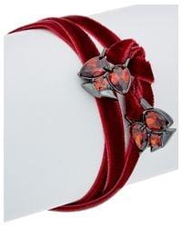 Noir Jewelry - Plated Red Glass & Velvet Frostbite Wrap Bracelet - Lyst