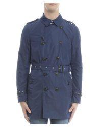 Burberry - Men's 4046883 Blue Cotton Trench Coat for Men - Lyst