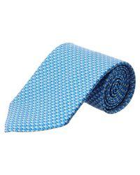 Ferragamo - Blue Vara Link Print Classic Tie for Men - Lyst