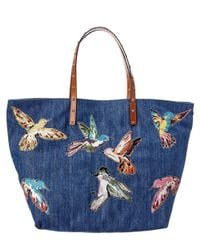 RED Valentino | Blue Printed Denim Tote | Lyst