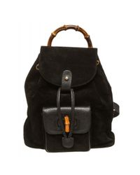 1620b6569cbf Lyst - Gucci Pre Owned - Black Suede Leather Bamboo Backpack Handbag ...