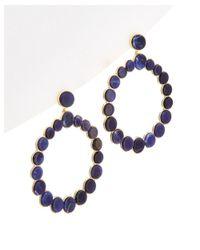 Noir Jewelry | Metallic 14k Plated Lapis Hoop Earrings | Lyst