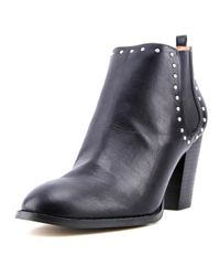 Report | Maysonia Women Round Toe Leather Black Ankle Boot | Lyst