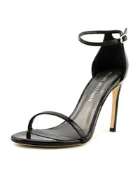 Stuart Weitzman - Nudistsong Women Open Toe Synthetic Black Sandals - Lyst