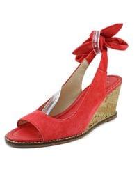 Bettye Muller - Playlist Women Open Toe Leather Red Wedge Sandal - Lyst