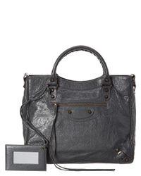Balenciaga - Gray Classic Velo Leather Crossbody - Lyst