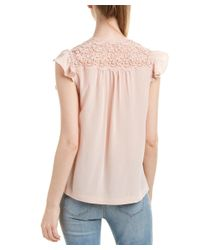 Rebecca Taylor - Pink Lace Yoke Silk Top - Lyst