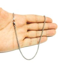 JewelryAffairs - White Sterling Silver Rhodium Plated Fancy Popcorn Rope Chain Necklace, 2.5mm, 18 - Lyst