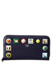 Fendi - Blue Studded Leather Zip Around Wallet - Lyst