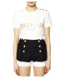 Balmain - Women's White Cotton T-shirt - Lyst