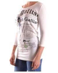 John Galliano - Women's White Cotton T-shirt - Lyst