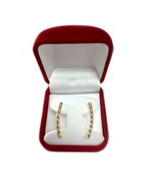 JewelryAffairs - 14k Yellow Gold Shinny Diamond Cut Round Tube Curved Climber Earrings - Lyst