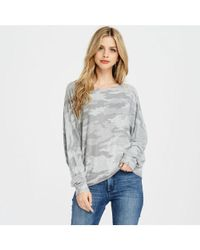 Bungalow 20 - Gray Long Sleeve Camo Print Top - Lyst