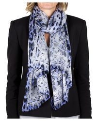 Roberto Cavalli - Blue Women's Lace Floral Animal Print Silk Scarf Large - Lyst