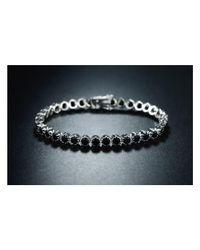 Peermont - Metallic 18k White Gold Plated 1cttw Black Onyx Crown Tennis Bracelet - Lyst