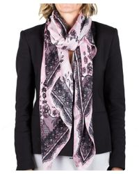Roberto Cavalli - Pink Women's Floral Lace Print Silk Scarf Large - Lyst